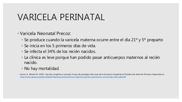 varicela en bebe - perinatal